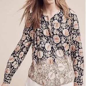 Anthropologie Maeve Blue Brown Floral Blouse Top